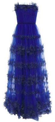 Marchesa Strapless Floral-appliqued Pleated Tulle Gown
