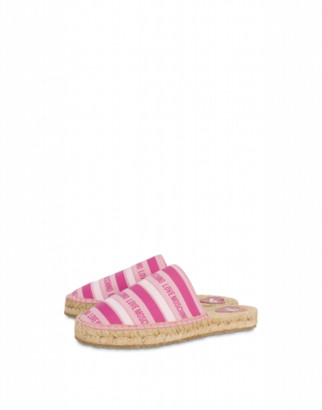 Love Moschino Striped Espadrille Sandals Woman Pink Size 35
