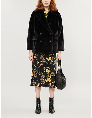 Free People Kate double-breasted faux-fur coat
