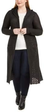 Belldini Plus Size Pointelle-Knit Duster Cardigan