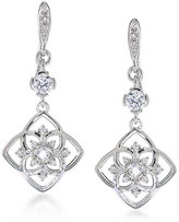 Carolee Floral Lace Silvertone Double Drop Earrings