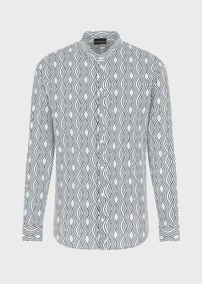 Emporio Armani Shirt With Guru Collar In Tencel With An Optical Print
