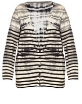 Raquel Allegra Tie-dye striped wool and cashmere-blend cardigan