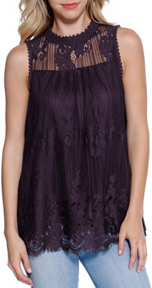 Taylor & Sage Women's Lace High Neck Sleeveless Top
