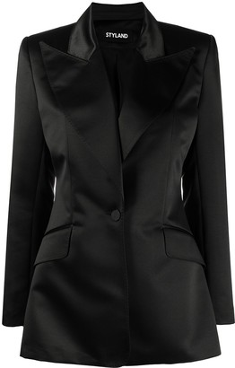 Styland Single-Button Satin Blazer