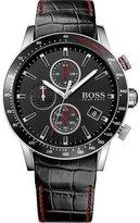 HUGO BOSS Men's 44mm Black Leather Band Steel Case Quartz Analog Watch 1513390