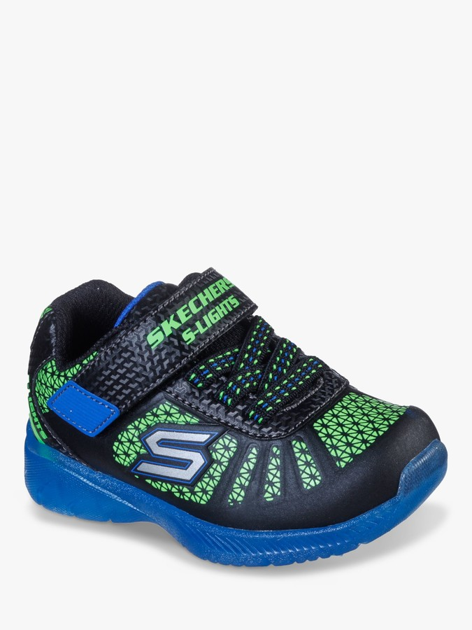 Skechers Children's S Lights Illumi-Brights Light Up Trainers, Black/Lime