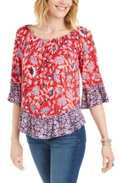 Style&Co. Style & Co Printed Blouse, Created for Macy's