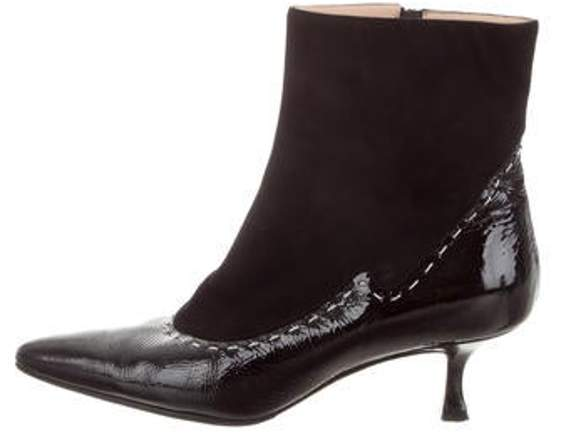 d2ea277b7c3 Patent Leather Pointed-Toe Ankle Boots Black Patent Leather Pointed-Toe  Ankle Boots