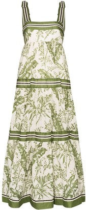 Zimmermann Leaf-Print Maxi Dress