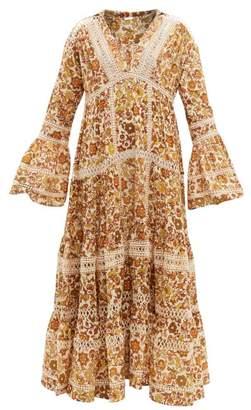 Dodo Bar Or Enid Floral-print Tiered Cotton-poplin Maxi Dress - Womens - Gold