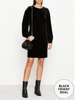 DKNY Long Sleeve Velvet Dress
