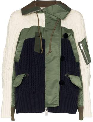 Sacai knitted panel hooded jacket