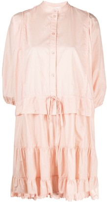 See by Chloe Draped-Sleeved Tiered Short Dress