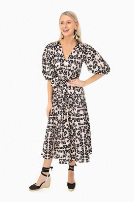 Rebecca Taylor Camel Combo Short Sleeve Kaleidoscope Dress