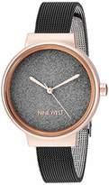 Nine West Women's Rose Gold-Tone and Black Mesh Bracelet Watch