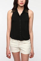 Lucca Couture Studded Collar Top
