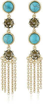Rebecca Minkoff Gold and Turquoise Color Linear Drop Earrings
