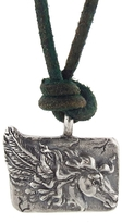 Catherine Michiels Friquette on Green Leather Pendant Necklace