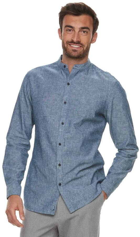 Marc Anthony Men's Slim-Fit Linen-Blend Band-Collar Button-Down Shirt