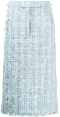 Thom Browne Check-Print Tweed Skirt