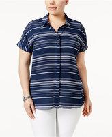 Alfani Plus Size Striped Shirt, Created for Macy's