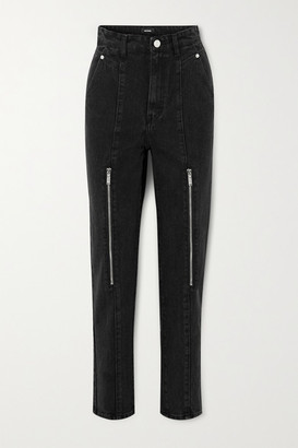we11done Zip-embellished High-rise Tapered Jeans - Black