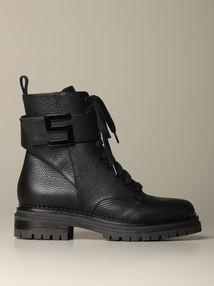 Sergio Rossi Flat Booties Amphibian In Leather With Sr Lettering