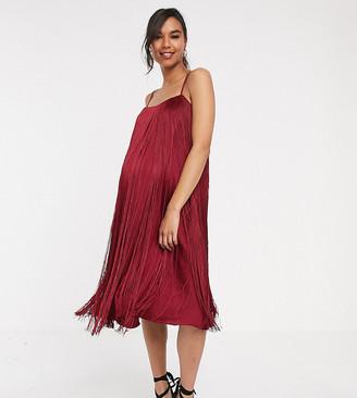 ASOS DESIGN Maternity fringe trapeze midi dress