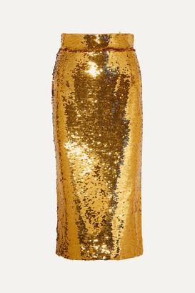 Dolce & Gabbana Sequined Tulle Midi Skirt - Gold