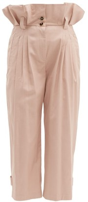Dolce & Gabbana Paperbag-waist Cotton-blend Trousers - Pink