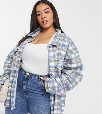 Lasula Plus oversized brush check shirt in blue multi