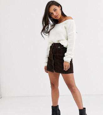 Vero Moda Petite cord mini skirt in chocolate