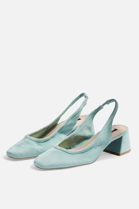 Topshop JELLY Leather Mint Slingback Heels
