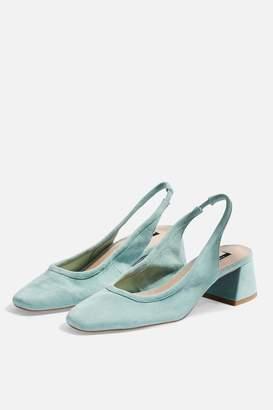 Topshop Womens Jelly Leather Mint Slingback Heels - Mint