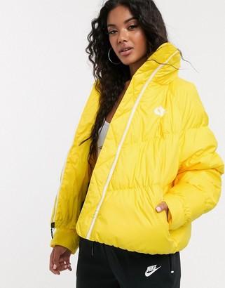 Nike yellow high neck padded jacket