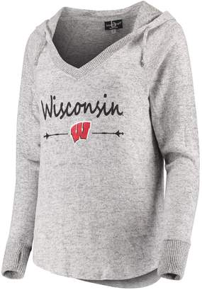 Unbranded Women's Heathered Gray Wisconsin Badgers Cuddle Soft V-Neck Tri-Blend Hoodie