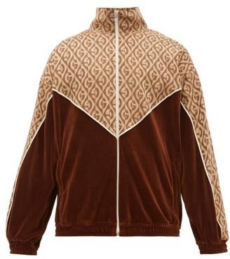 Gucci Logo-jacquard Satin And Velour Track Jacket - Brown Multi