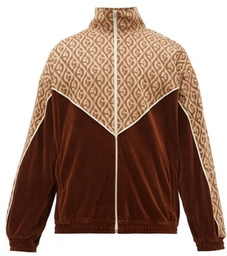 Gucci Logo-jacquard Satin And Velour Track Jacket - Mens - Brown Multi