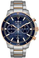 Bulova Marine Star Chronograph Rose Gold And Stainless Steel Mens Watch