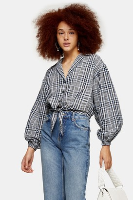 Topshop Womens Blue Gingham Tie Front Shirt - Blue