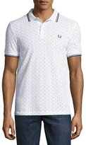 Fred Perry Square-Print Piqué Polo Shirt with Tipping, White