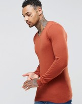 Asos Muscle Fit V Neck Sweater in Rust Cotton