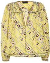 Isabel Marant Light Yellow Embroidered Printed Silk Tyron Top