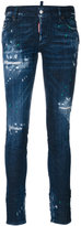 DSQUARED2 distressed skinny jeans - women - Cotton/Spandex/Elastane/Polyester/Leather - 36