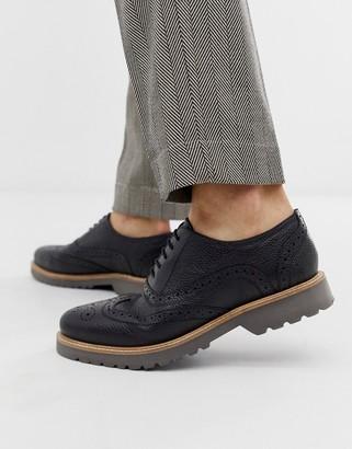 Ben Sherman leather brogue shoe in black