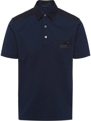 Prada contrast panel polo shirt
