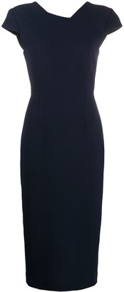 Roland Mouret Fitted Short-Sleeved Midi Dress