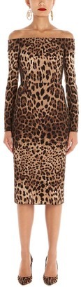 Dolce & Gabbana Off The Shoulder Animalier Printed Dress