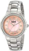 Burgi Women's BUR093PK Silver Crystal Accented Swiss Quartz Watch with Pink Mother of Pearl Dial and Silver Bracelet